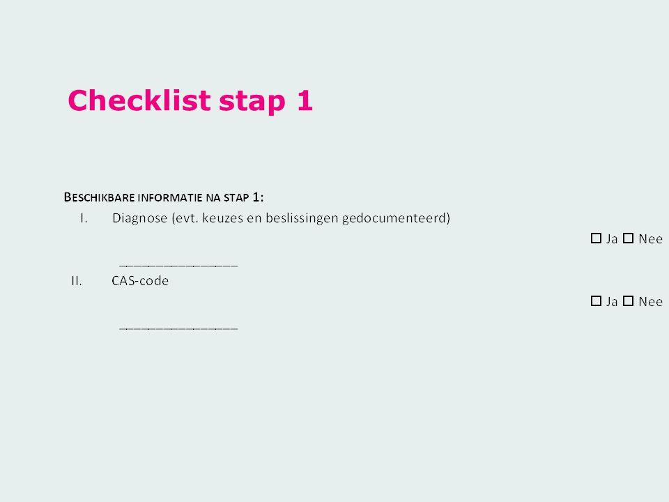 Checklist stap 1