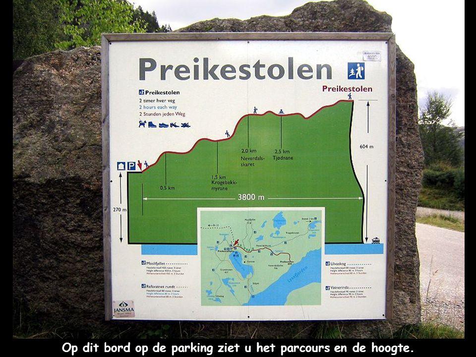 Op dit bord op de parking ziet u het parcours en de hoogte.