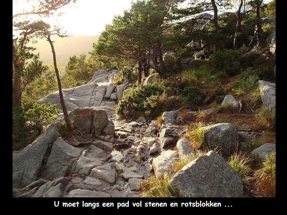 U moet langs een pad vol stenen en rotsblokken...