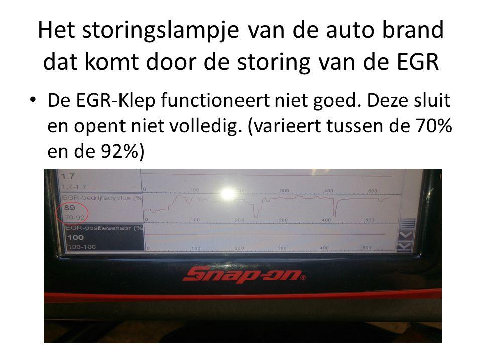 Het storingslampje van de auto brand dat komt door de storing van de EGR De EGR-Klep functioneert niet goed. Deze sluit en opent niet volledig. (varie