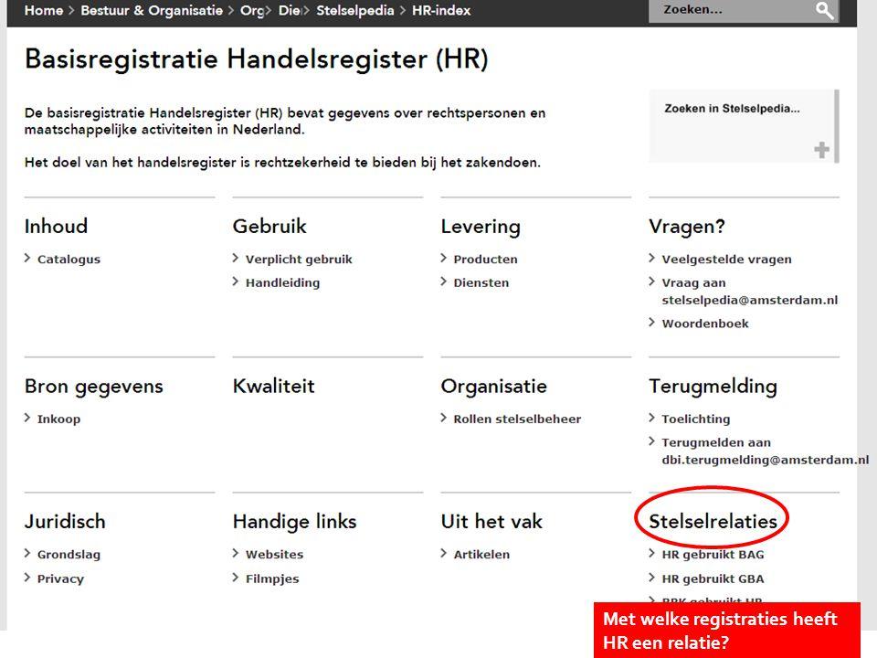 Kies onderwerp Met welke registraties heeft HR een relatie?