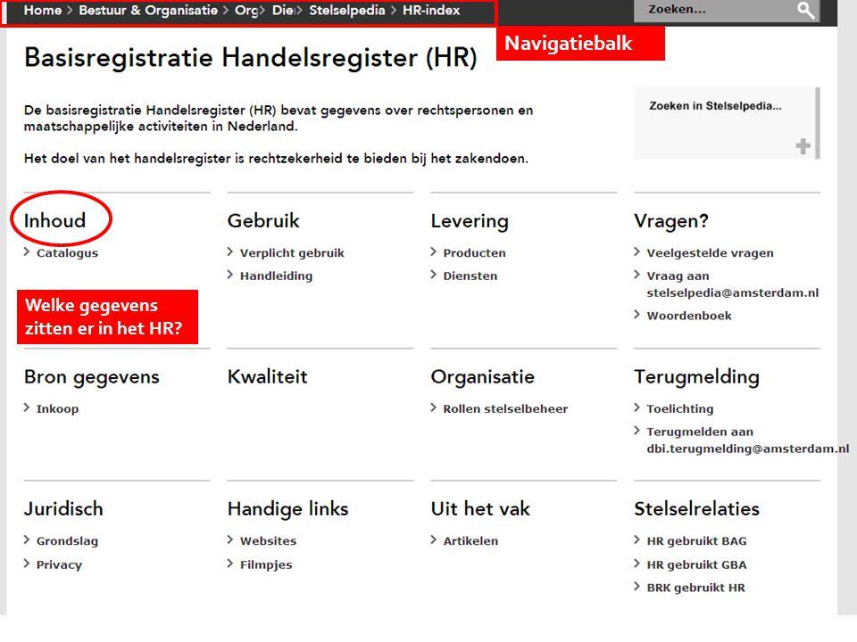 Kies onderwerp Welke gegevens zitten er in het HR? Navigatiebalk