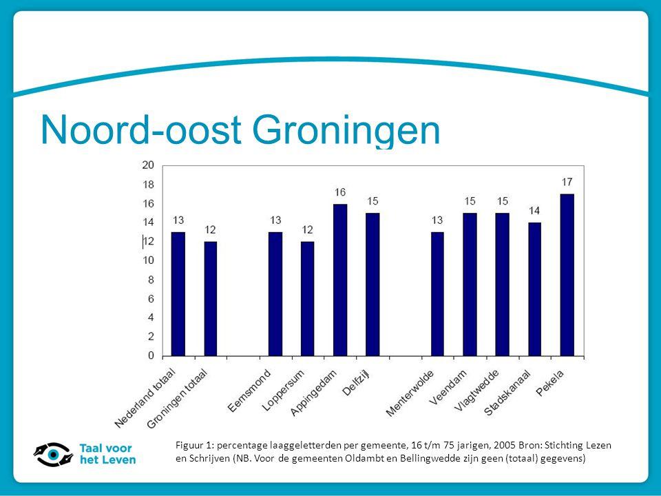 Noord-oost Groningen Figuur 1: percentage laaggeletterden per gemeente, 16 t/m 75 jarigen, 2005 Bron: Stichting Lezen en Schrijven (NB. Voor de gemeen