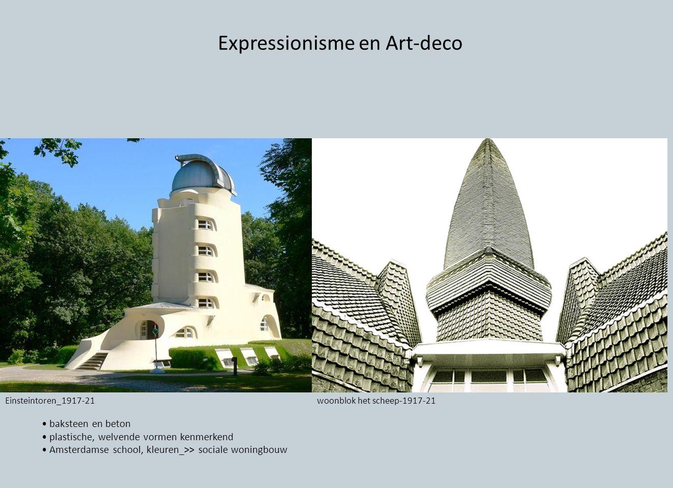 Expressionisme en Art-deco baksteen en beton plastische, welvende vormen kenmerkend Amsterdamse school, kleuren_>> sociale woningbouw Einsteintoren_19