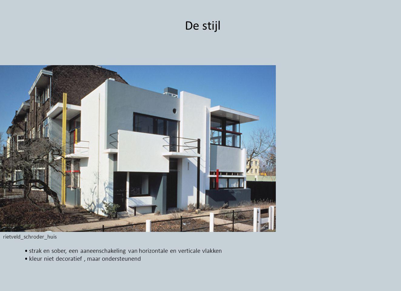 De stijl rietveld_schroder_huis strak en sober, een aaneenschakeling van horizontale en verticale vlakken kleur niet decoratief, maar ondersteunend