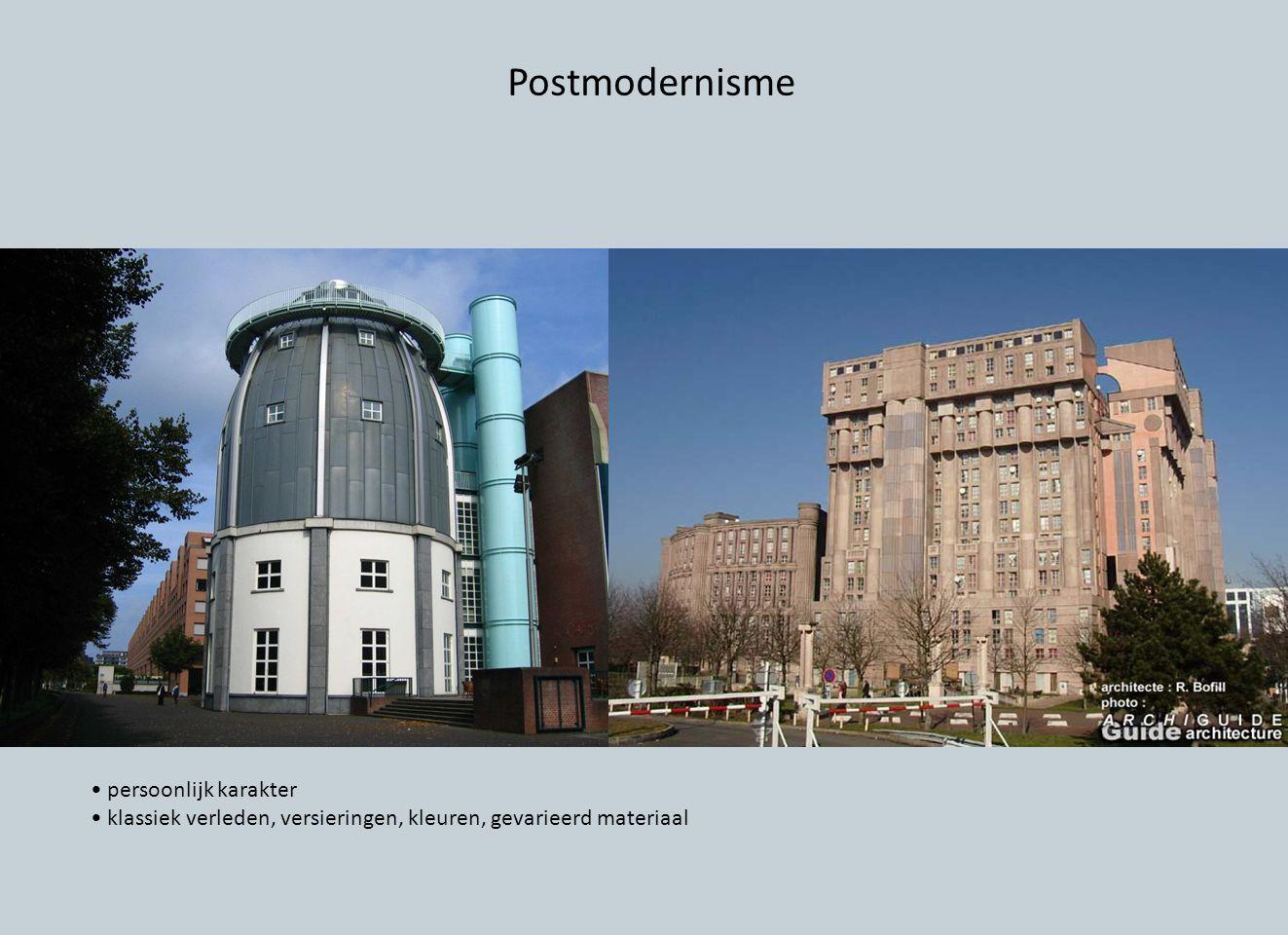 Postmodernisme persoonlijk karakter klassiek verleden, versieringen, kleuren, gevarieerd materiaal