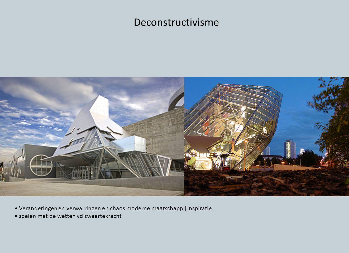 Deconstructivisme Veranderingen en verwarringen en chaos moderne maatschappij inspiratie spelen met de wetten vd zwaartekracht