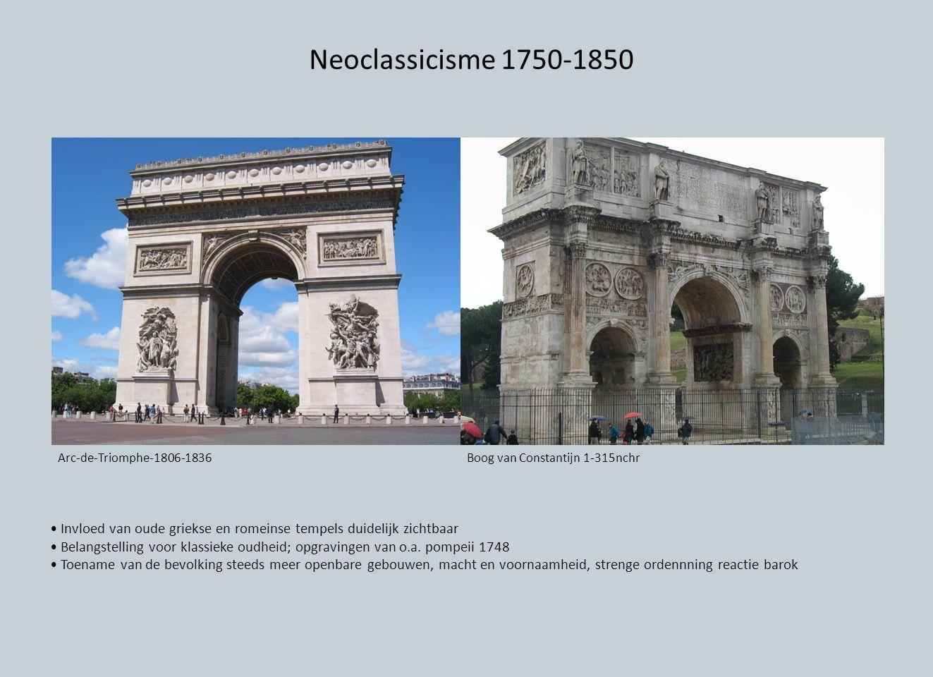 Neoclassicisme 1750-1850 Invloed van oude griekse en romeinse tempels duidelijk zichtbaar Belangstelling voor klassieke oudheid; opgravingen van o.a.