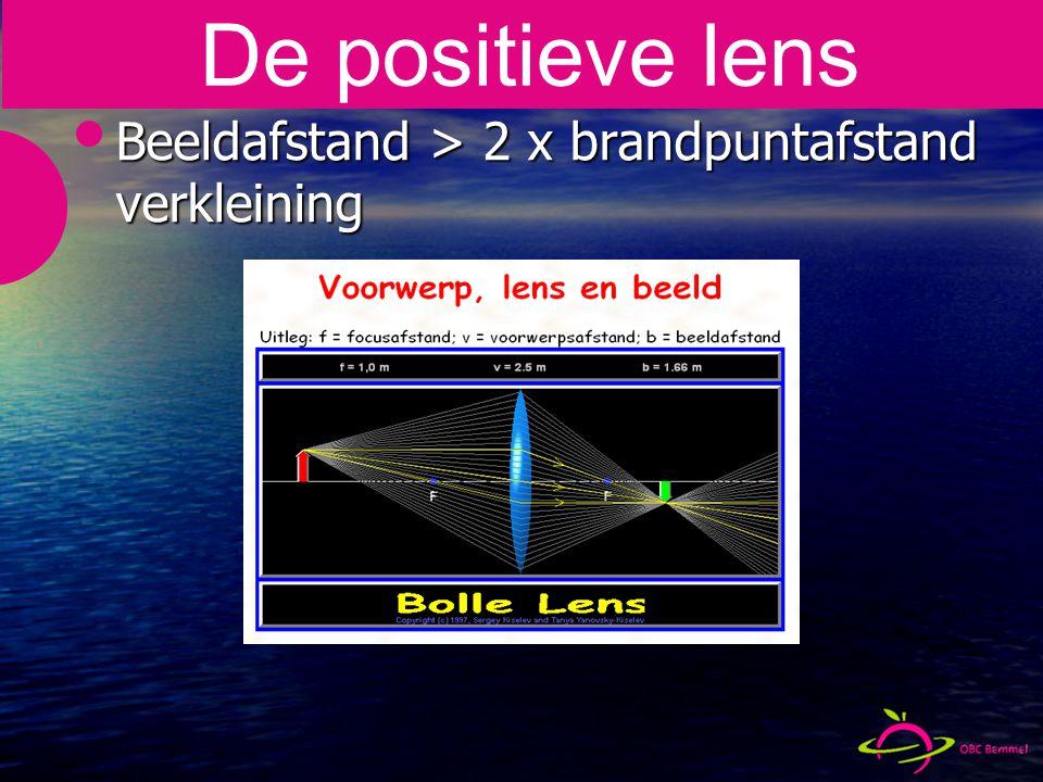 Beeldafstand > 2 x brandpuntafstand verkleining De positieve lens
