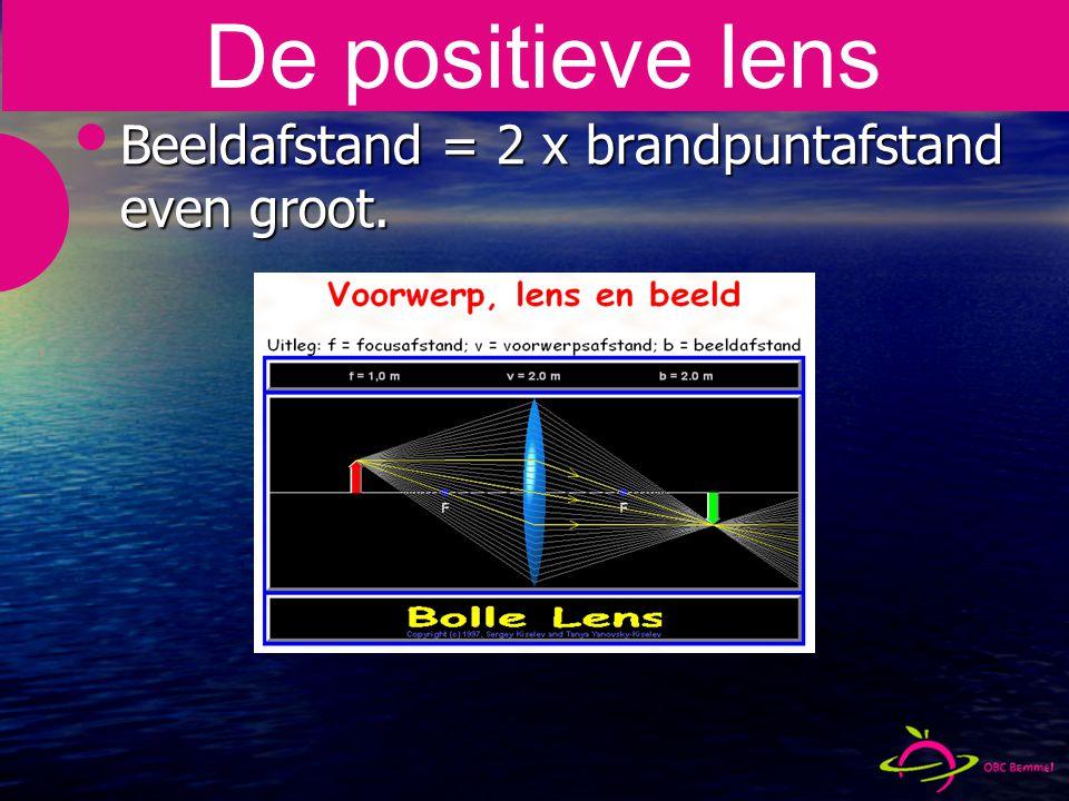 Beeldafstand = 2 x brandpuntafstand even groot. De positieve lens