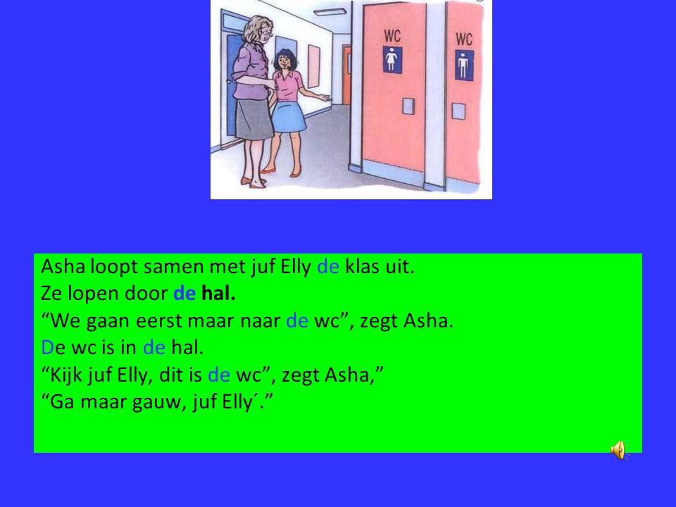 Hierna lopen juf Elly en Asha de gang in. Ze komen door de hal. Aan het einde van de gang is de lerarenkamer. Meester Piet zit in de lerarenkamer. Juf
