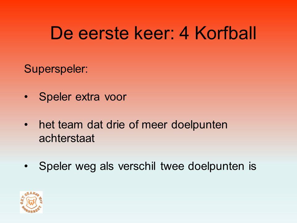 De eerste keer: 4 Korfball Superspeler: Speler extra voor het team dat drie of meer doelpunten achterstaat Speler weg als verschil twee doelpunten is