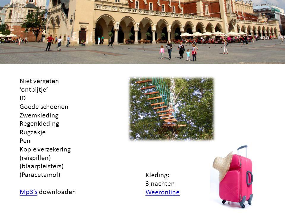 Niet vergeten 'ontbijtje' ID Goede schoenen Zwemkleding Regenkleding Rugzakje Pen Kopie verzekering (reispillen) (blaarpleisters) (Paracetamol) Mp3'sMp3's downloaden Kleding: 3 nachten Weeronline