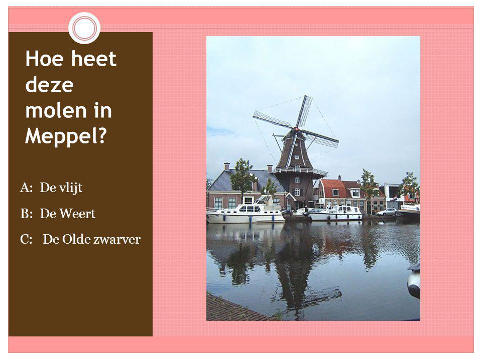 Hoe heet deze molen in Meppel? A: De vlijt B: De Weert C: De Olde zwarver