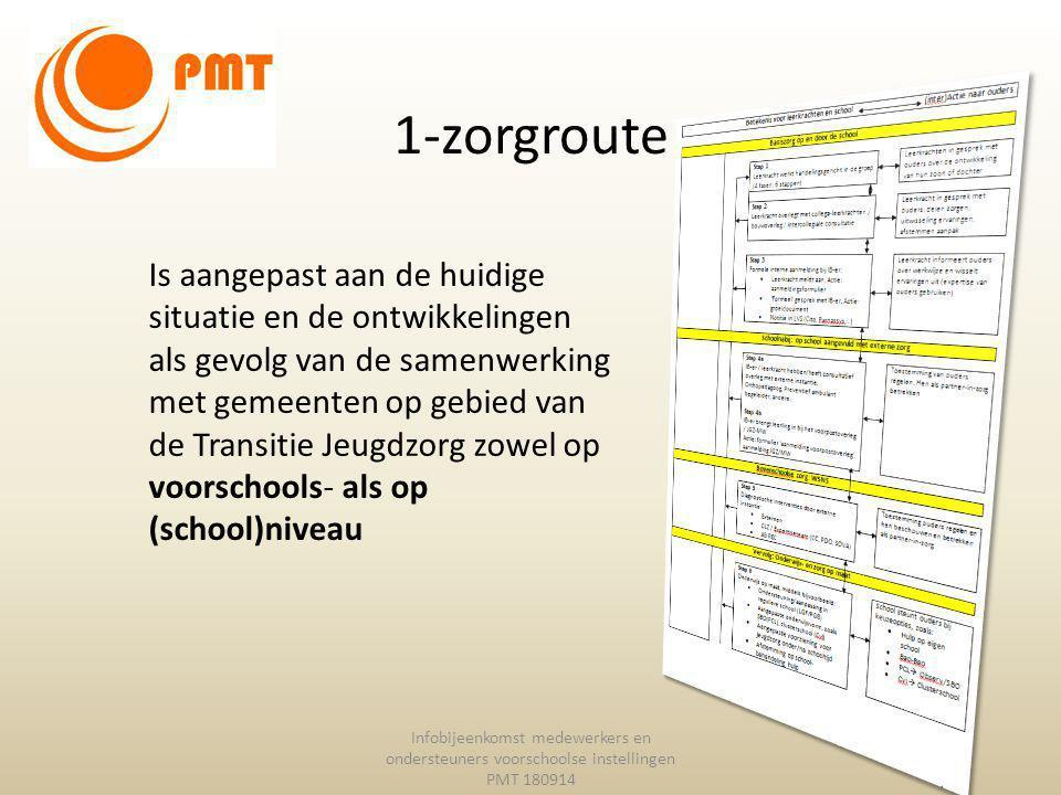 1-zorgroute Infobijeenkomst medewerkers en ondersteuners voorschoolse instellingen PMT 180914 Is aangepast aan de huidige situatie en de ontwikkelinge