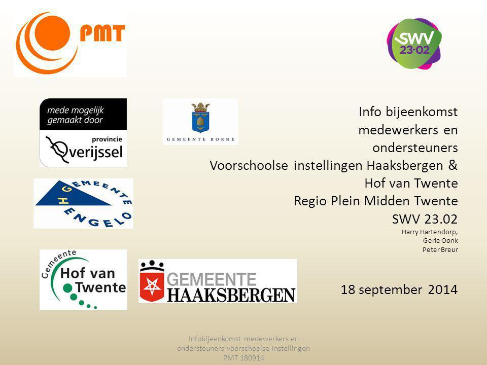 Info bijeenkomst medewerkers en ondersteuners Voorschoolse instellingen Haaksbergen & Hof van Twente Regio Plein Midden Twente SWV 23.02 Harry Hartend