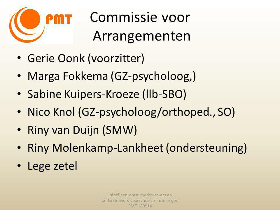 Commissie voor Arrangementen Gerie Oonk (voorzitter) Marga Fokkema (GZ-psycholoog,) Sabine Kuipers-Kroeze (llb-SBO) Nico Knol (GZ-psycholoog/orthoped.