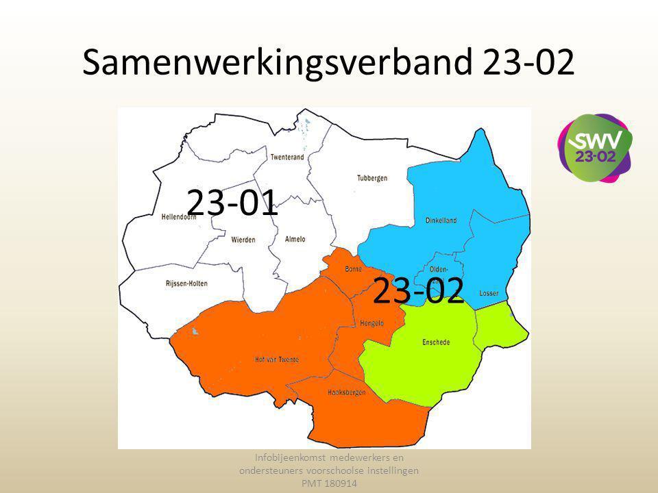 Samenwerkingsverband 23-02 Infobijeenkomst medewerkers en ondersteuners voorschoolse instellingen PMT 180914 23-02 23-01