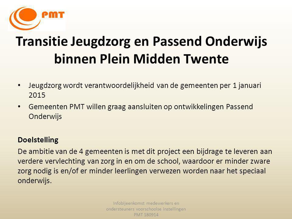 Transitie Jeugdzorg en Passend Onderwijs binnen Plein Midden Twente Jeugdzorg wordt verantwoordelijkheid van de gemeenten per 1 januari 2015 Gemeenten