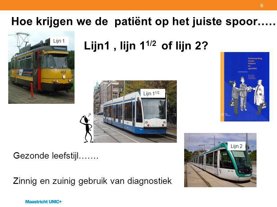 6 Hoe krijgen we de patiënt op het juiste spoor…… Lijn1, lijn 1 1/2 of lijn 2.