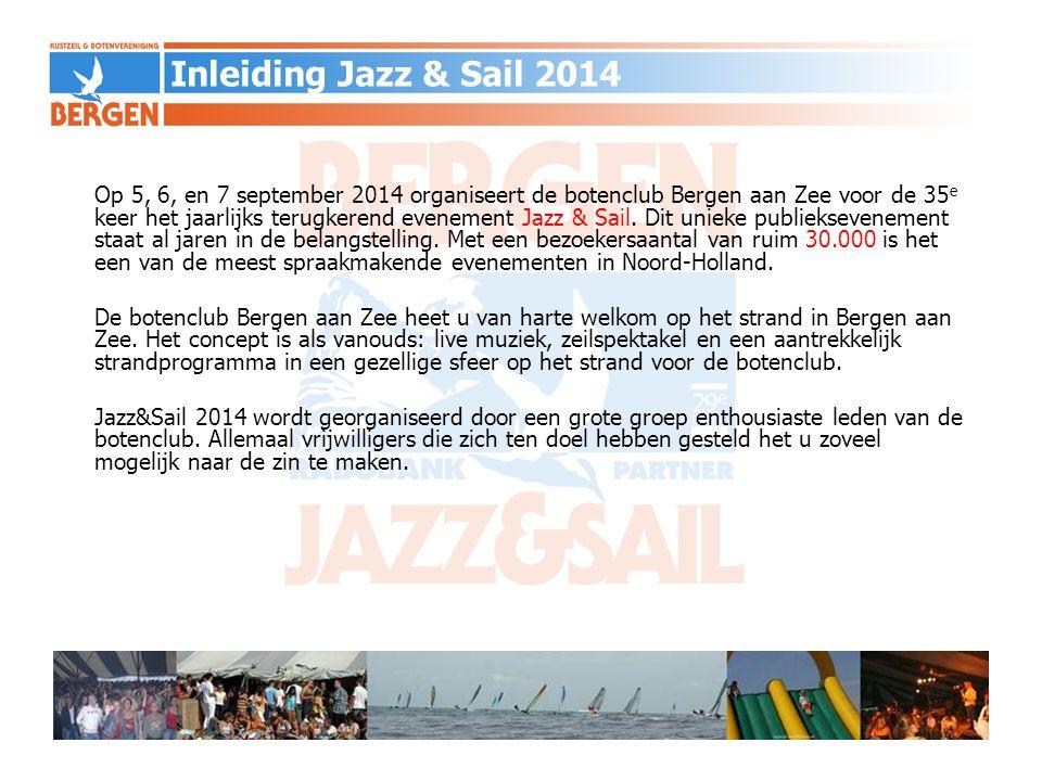 Op 5, 6, en 7 september 2014 organiseert de botenclub Bergen aan Zee voor de 35 e keer het jaarlijks terugkerend evenement Jazz & Sail. Dit unieke pub