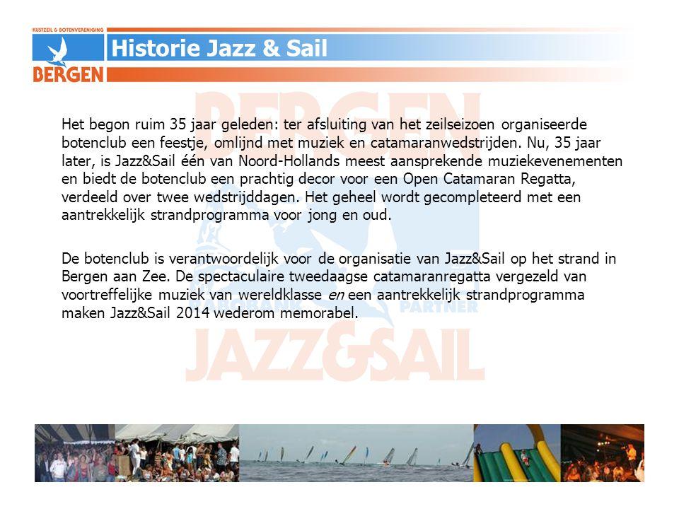 35 e editie wordt gehouden op 5, 6 en 7 september 2014 Totaal aantal bezoekers Jazz & Sail ca.