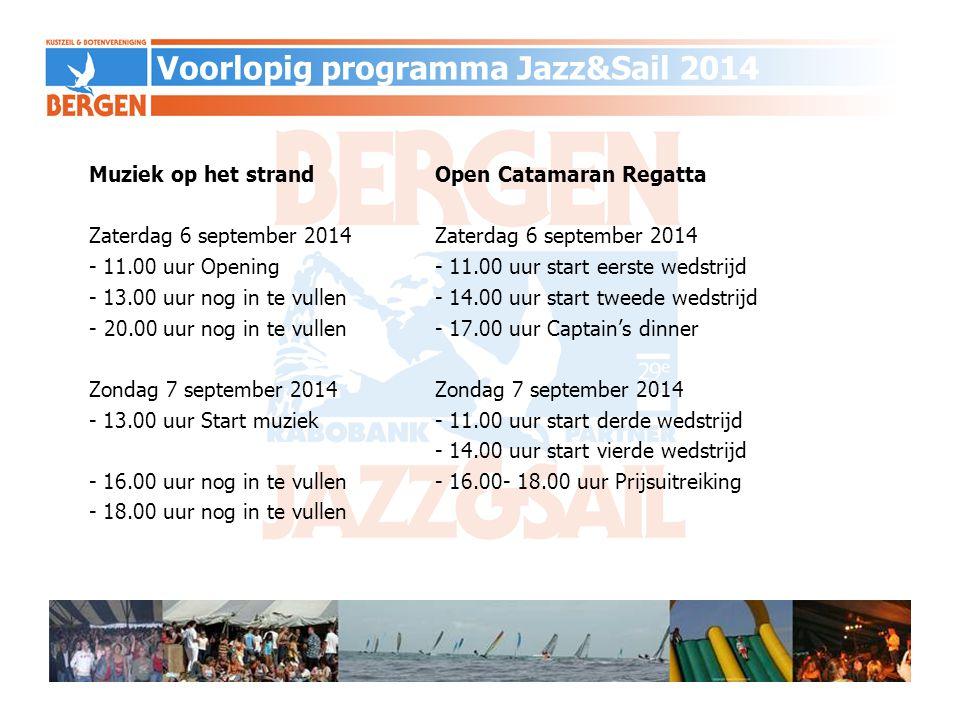 Muziek op het strandOpen Catamaran RegattaZaterdag 6 september 2014 - 11.00 uur Opening - 11.00 uur start eerste wedstrijd - 13.00 uur nog in te vulle