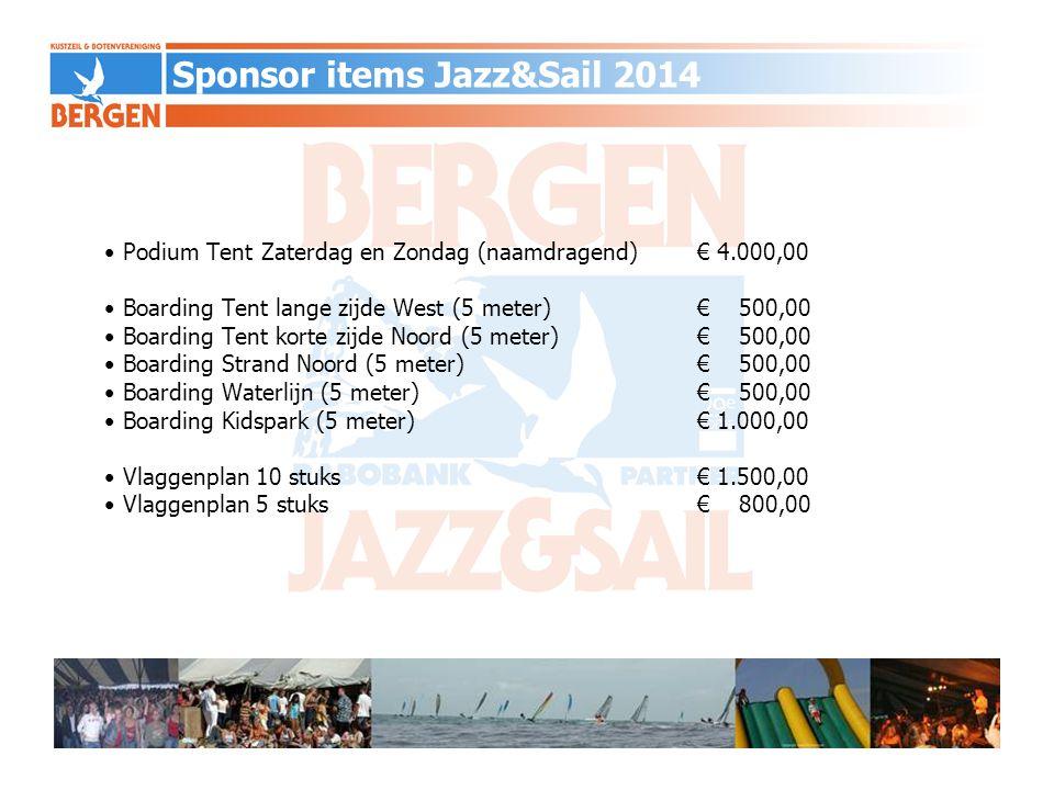 Wisseltrofee Challenge Cup (naamdragend)€ 1.500,00 Zeilstickers € 1.000,00 Strandvervoer aan- en afvoer boten€ 1.500,00 Jazz & Sail t-shirts (250 stuks incl logo,jaartal,kosten)€ 1.500.00 tshirts tevens voor verkoop collectors item….