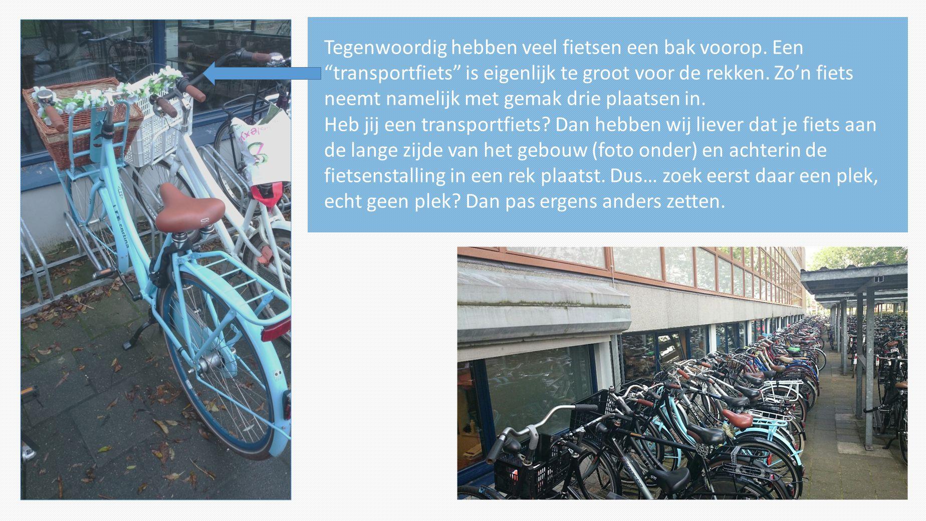 """Tegenwoordig hebben veel fietsen een bak voorop. Een """"transportfiets"""" is eigenlijk te groot voor de rekken. Zo'n fiets neemt namelijk met gemak drie p"""