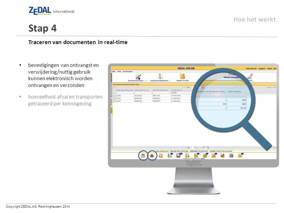 Copyright ZEDAL AG, Recklinghausen, 2014 international Traceren van documenten in real-time bevestigingen van ontvangst en verwijdering/nuttig gebruik kunnen elektronisch worden ontvangen en verzonden hoeveelheid afval en transporten getraceerd per kennisgeving Stap 4 Hoe het werkt