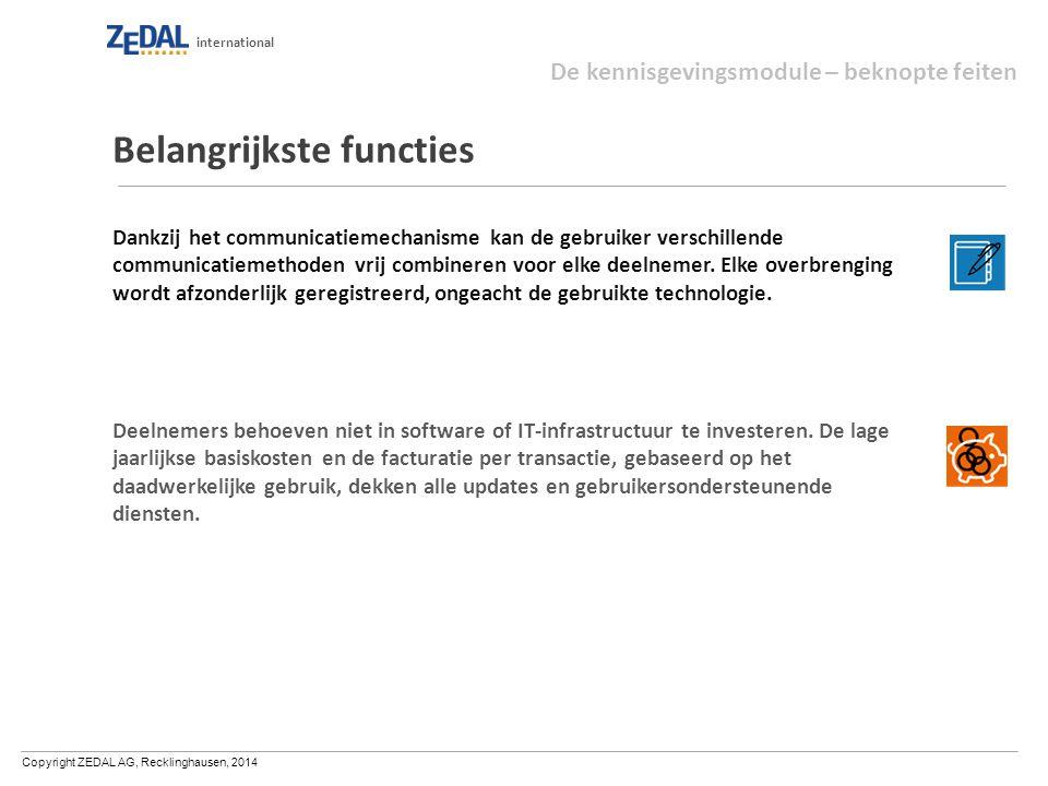 Copyright ZEDAL AG, Recklinghausen, 2014 international Belangrijkste functies Dankzij het communicatiemechanisme kan de gebruiker verschillende communicatiemethoden vrij combineren voor elke deelnemer.