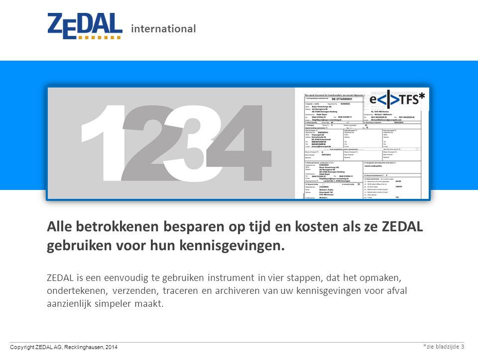 Copyright ZEDAL AG, Recklinghausen, 2014 Alle betrokkenen besparen op tijd en kosten als ze ZEDAL gebruiken voor hun kennisgevingen.