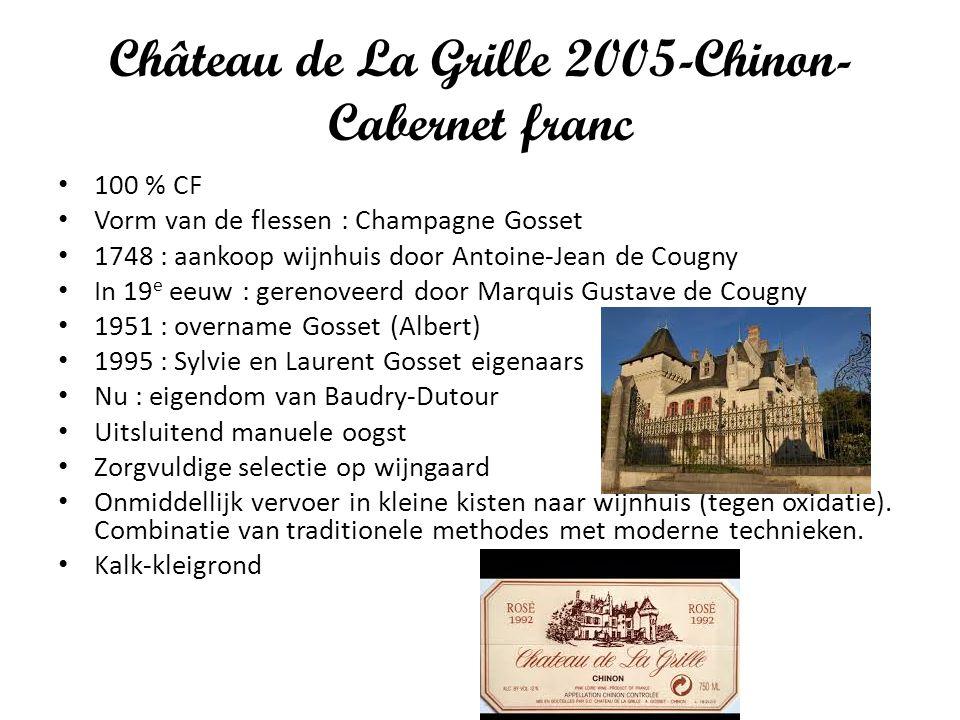 Château de La Grille 2005-Chinon- Cabernet franc 100 % CF Vorm van de flessen : Champagne Gosset 1748 : aankoop wijnhuis door Antoine-Jean de Cougny I