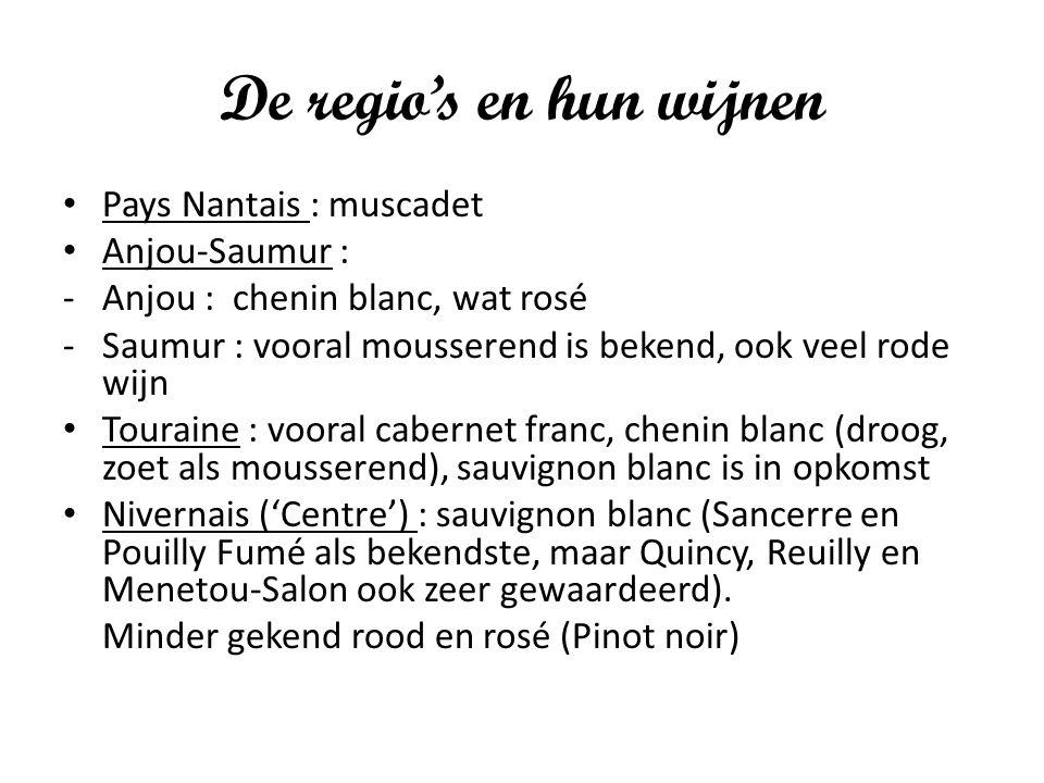 De regio's en hun wijnen Pays Nantais : muscadet Anjou-Saumur : -Anjou : chenin blanc, wat rosé -Saumur : vooral mousserend is bekend, ook veel rode w
