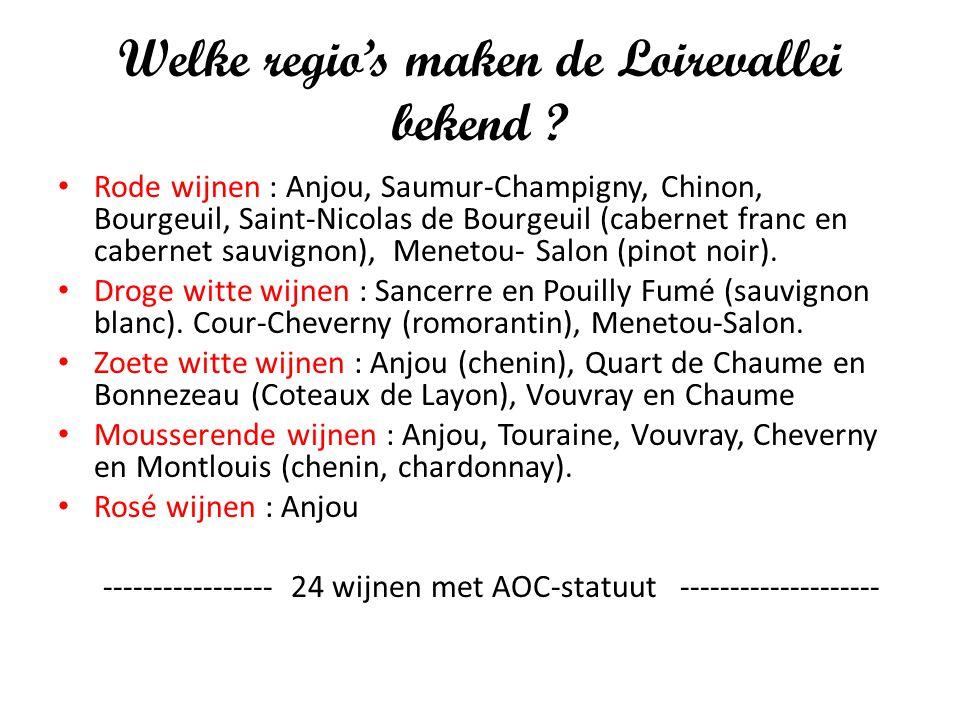 Welke regio's maken de Loirevallei bekend ? Rode wijnen : Anjou, Saumur-Champigny, Chinon, Bourgeuil, Saint-Nicolas de Bourgeuil (cabernet franc en ca