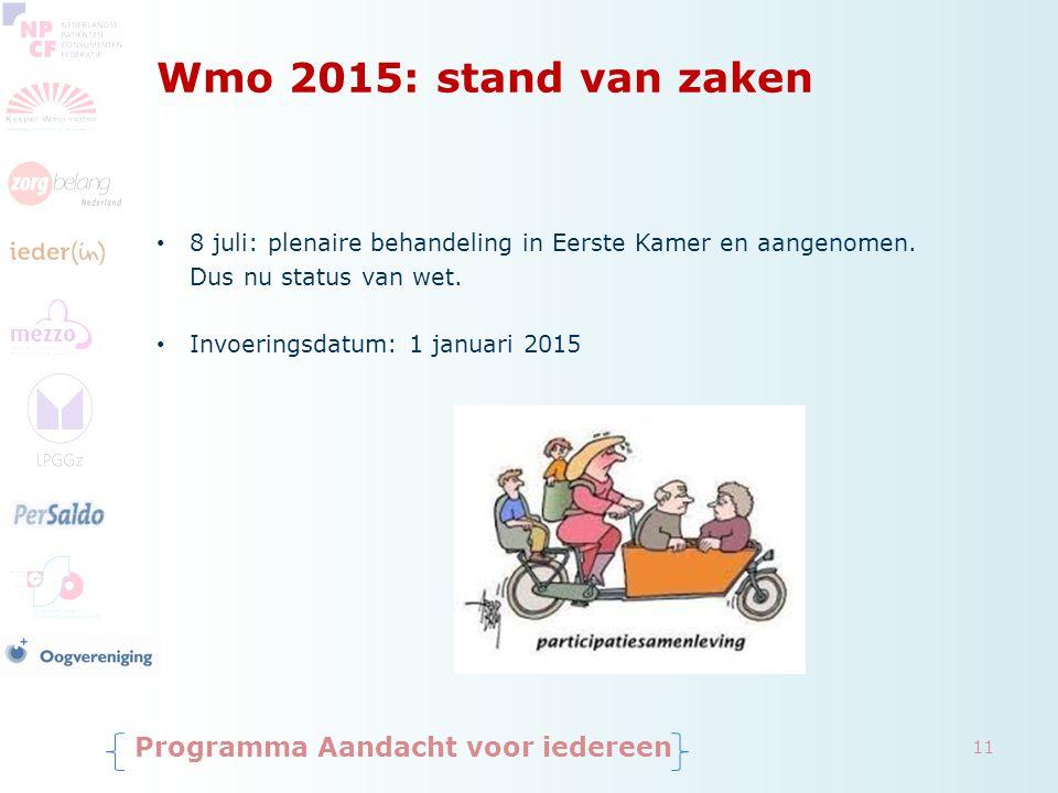 Wmo 2015: stand van zaken 8 juli: plenaire behandeling in Eerste Kamer en aangenomen. Dus nu status van wet. Invoeringsdatum: 1 januari 2015 Programma