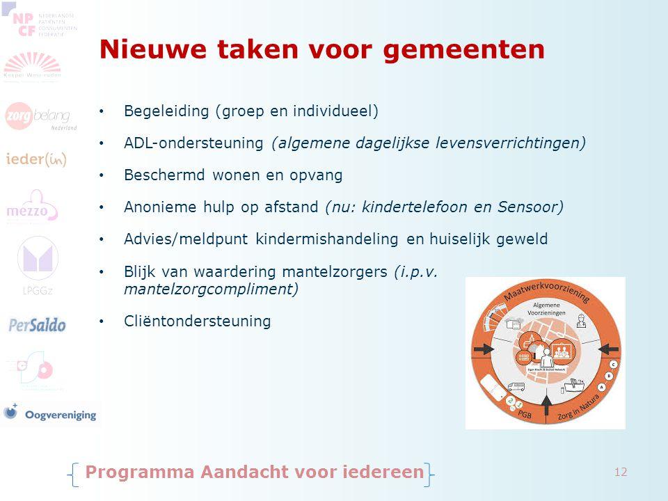 Nieuwe taken voor gemeenten Begeleiding (groep en individueel) ADL-ondersteuning (algemene dagelijkse levensverrichtingen) Beschermd wonen en opvang A