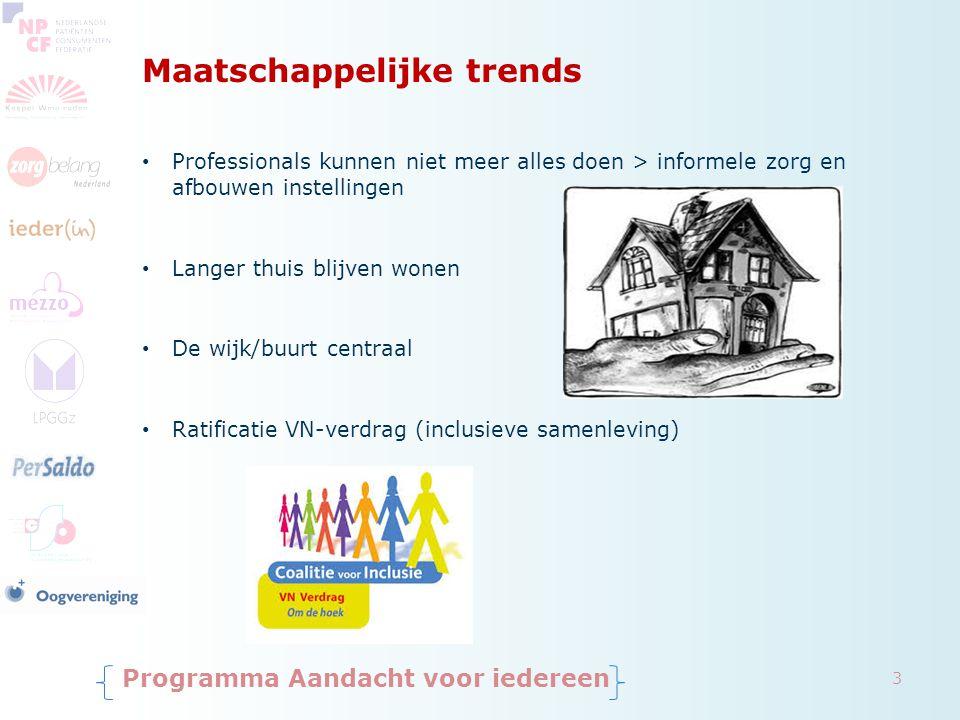 Maatschappelijke trends Programma Aandacht voor iedereen Professionals kunnen niet meer alles doen > informele zorg en afbouwen instellingen Langer th