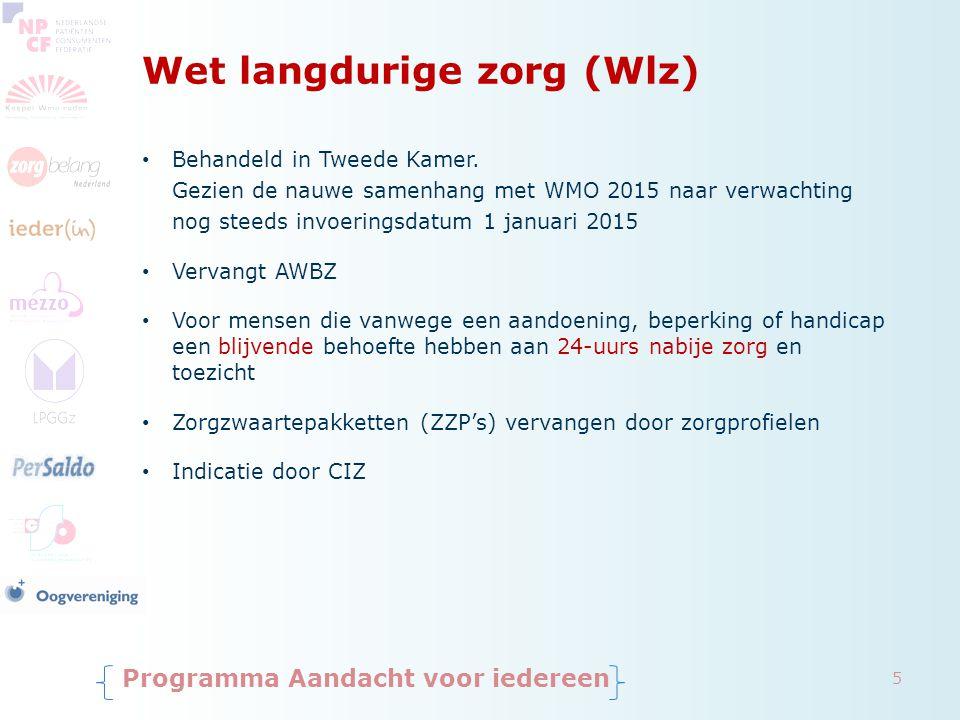 Wet langdurige zorg (Wlz) Behandeld in Tweede Kamer. Gezien de nauwe samenhang met WMO 2015 naar verwachting nog steeds invoeringsdatum 1 januari 2015