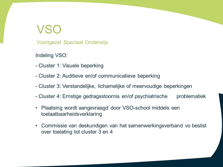 Indeling VSO: - Cluster 1: Visuele beperking - Cluster 2: Auditieve en/of communicatieve beperking - Cluster 3: Verstandelijke, lichamelijke of meervo