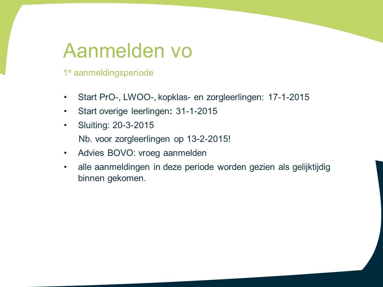 Start PrO-, LWOO-, kopklas- en zorgleerlingen: 17-1-2015 Start overige leerlingen: 31-1-2015 Sluiting: 20-3-2015 Nb. voor zorgleerlingen op 13-2-2015!