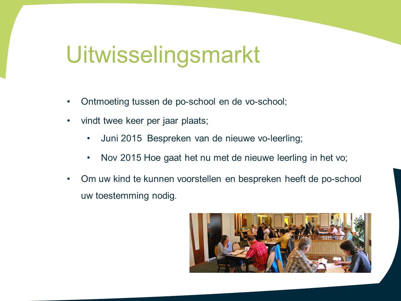 Ontmoeting tussen de po-school en de vo-school; vindt twee keer per jaar plaats; Juni 2015 Bespreken van de nieuwe vo-leerling; Nov 2015 Hoe gaat het