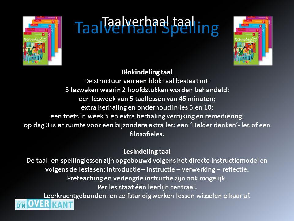 Taalverhaal Spelling Taalverhaal taal Blokindeling taal De structuur van een blok taal bestaat uit: 5 lesweken waarin 2 hoofdstukken worden behandeld;