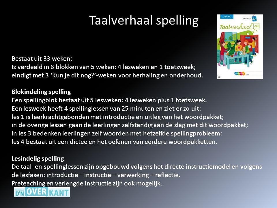 Taalverhaal spelling Bestaat uit 33 weken; Is verdeeld in 6 blokken van 5 weken: 4 lesweken en 1 toetsweek; eindigt met 3 'Kun je dit nog?'-weken voor