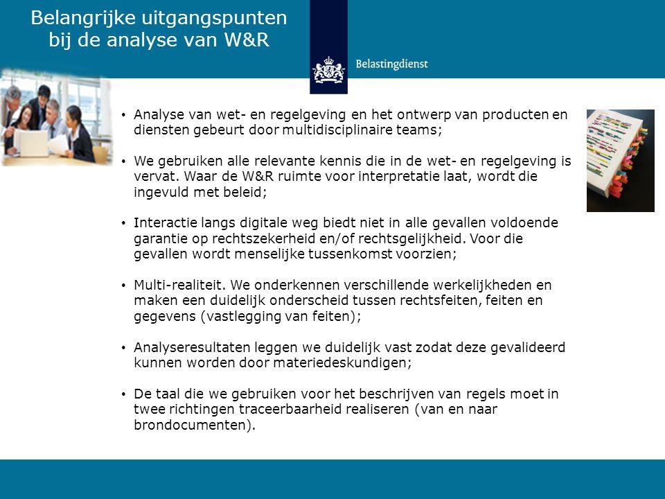 Belangrijke uitgangspunten bij de analyse van W&R Analyse van wet- en regelgeving en het ontwerp van producten en diensten gebeurt door multidisciplin