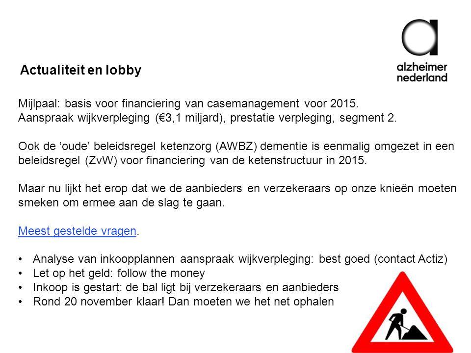 Mijlpaal: basis voor financiering van casemanagement voor 2015.
