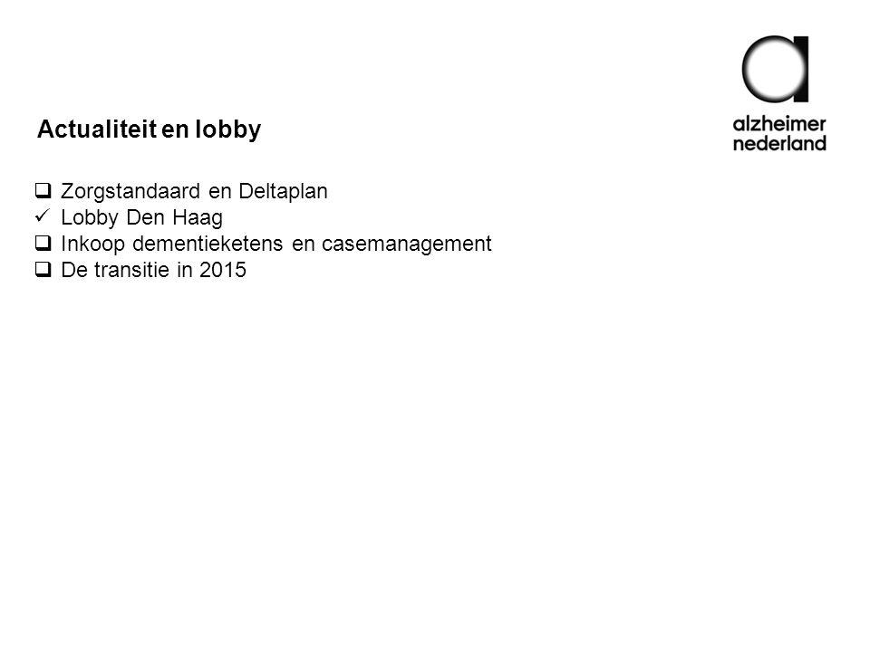  Zorgstandaard en Deltaplan Lobby Den Haag  Inkoop dementieketens en casemanagement  De transitie in 2015 Actualiteit en lobby