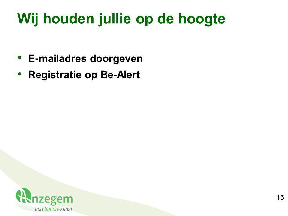 15 Wij houden jullie op de hoogte E-mailadres doorgeven Registratie op Be-Alert