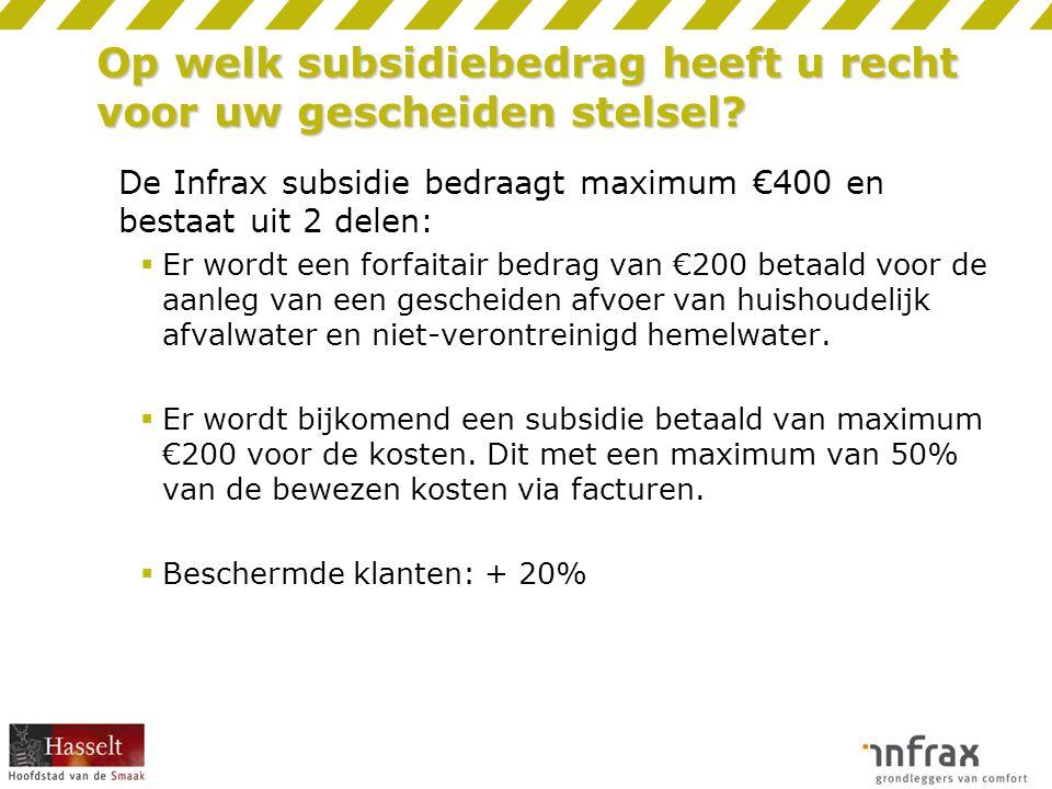 Op welk subsidiebedrag heeft u recht voor uw gescheiden stelsel.