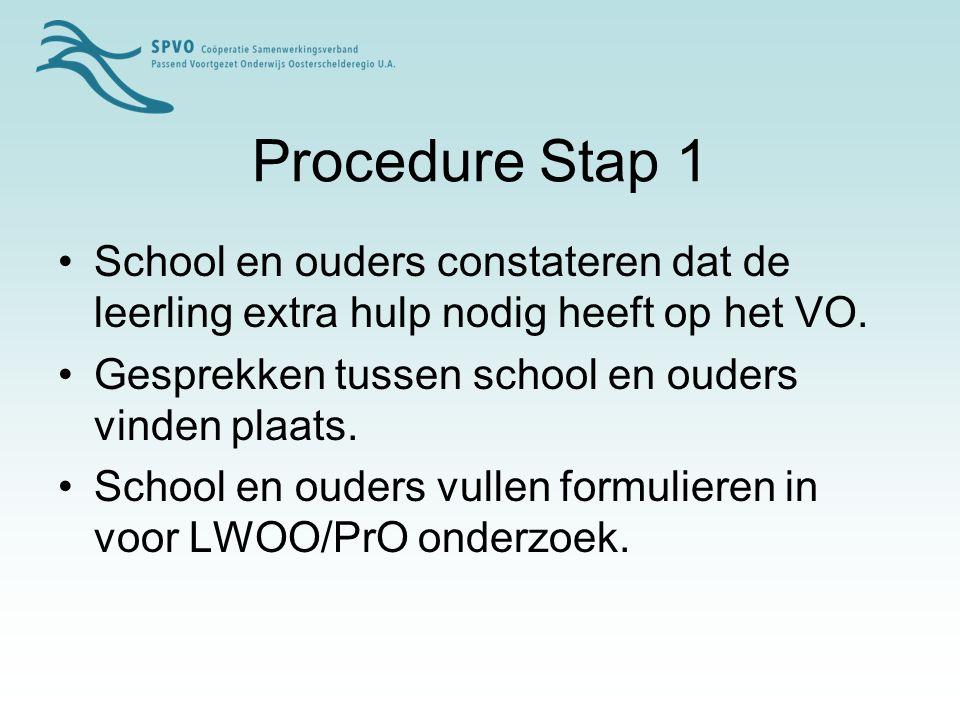Procedure Stap 2 De basisschool zorgt ervoor dat de ingevulde formulieren ingeleverd worden bij de CTO.